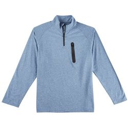 One Day Away Mens Heathered Quarter Zip Long Sleeve Shirt