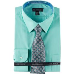 Bill Robinson Mens Regular Fit Dress Shirt & Circle Tie Set