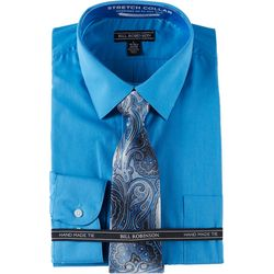 Bill Robinson Mens Regular Fit Dress Shirt & Paisley Tie Set