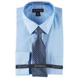 Bill Robinson Mens Regular Fit Dress Shirt & Geo Tie Set