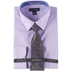 Bill Robinson Mens Regular Fit Dress Shirt & Floral Tie Set