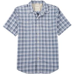 Dockers Mens Performance Plaid Seersucker Short Sleeve Shirt