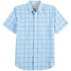 Dockers Mens Performance Windowpane Plaid Seersucker Shirt