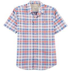 Dockers Mens Plaid Seersucker Short Sleeve Shirt