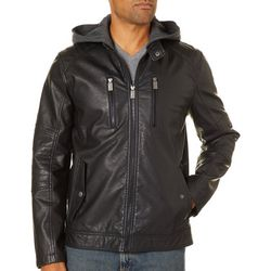 Urban Republic Mens Faux Leather Hooded Moto Jacket