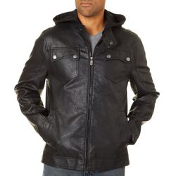 Urban Republic Mens Matte Faux Leather Hooded Jacket