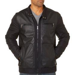 Urban Republic Mens Miixed Media Moto Jacket