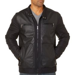 Urban Republic Mens Mixed Media Moto Jacket