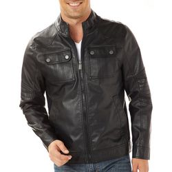 Urban Republic Mens Faux Leather Officer Jacket