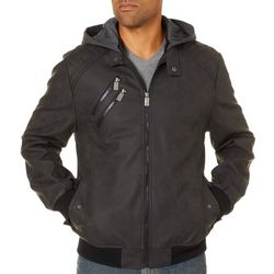 Urban Republic Mens Hooded Faux Leather Bomber Jacket