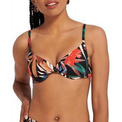 Womens Palm Print Underwire Swim Top