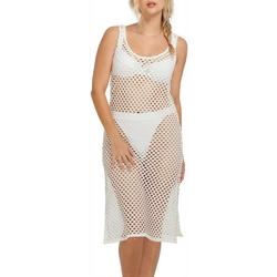 Womens Crochet Sleeveless Dress Cover-Up