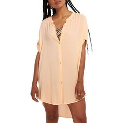Everday Sunday Womens Button Down Tunic Cover-Up