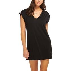 Womens Tie Shoulder Tunic Swim Cover-Up