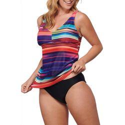 Noon Swim Womens 2 Pc Nokomis Groves Stripe Tankini Swim Set