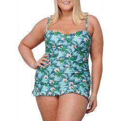 Noon Swim Plus Lido Shores Tropical Flower Print Swimdress