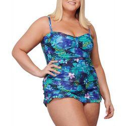 Noon Swim Plus Lido Shores Tropical Print Swimdress