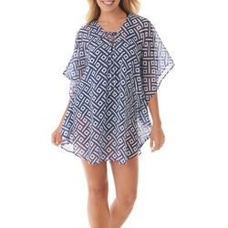 Womens Geometric Lace Up Cover-Up