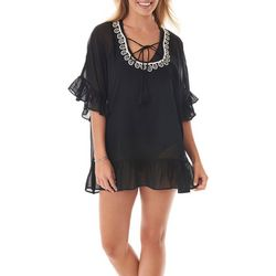 Womens Ruffle Tie Front Cover-Up