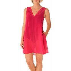 Take Cover Womens Sleeveless Pleated Cover-Up
