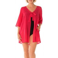 Take Cover Womens Tie Front Flowy Cover-Up