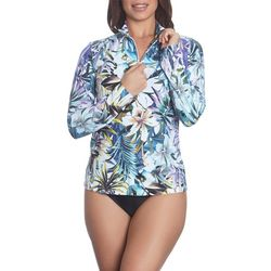 Sun and Sea Womens French Polynesia Zip Front Rash Guard