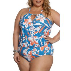 Sun and Sea Plus Hibiscus Blue Crossover Swimsuit
