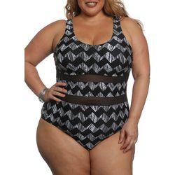 Plus Ying Yang Mesh Panel Swimsuit