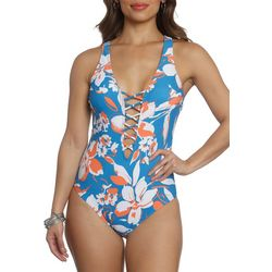 Sun and Sea Womens Hibiscus Blue Lace Up One Piece Swimsuit
