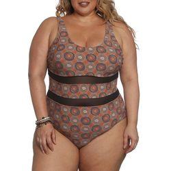 Plus Macciato Swirl Mesh Swimsuit