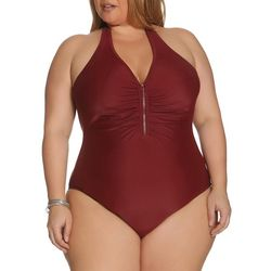 Plus Halter Zip One Piece Swimsuit