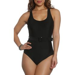 Sun and Sea Womens Solid Belted One Piece