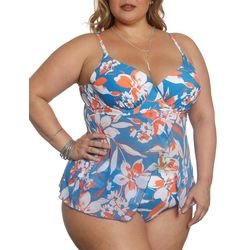 Sun and Sea Plus Hibiscus Blue Flyaway Tankini Top