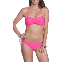 Sun and Sea Womens Solid As A Rock Bandeau Bikini Set