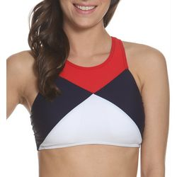 Juniors Colorblock High Neck Bikini Top