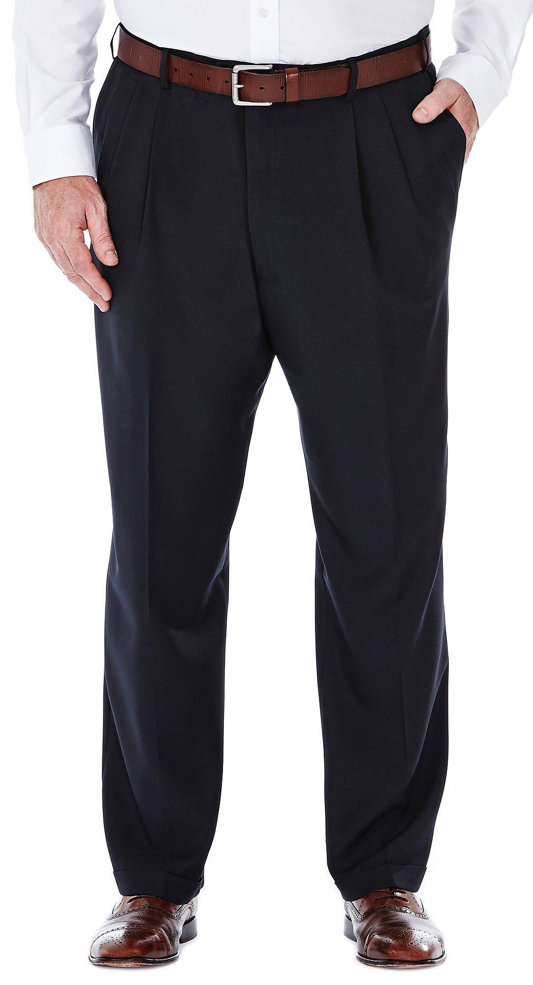 Haggar Men/'s Big /& Tall Cool 18® Solid Pleat Front Pant Classic Fit 41714529486