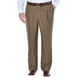 Haggar Mens Big & Tall eCLo Stria Pleated Pants