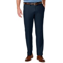Haggar Mens Cool Pro Flat Front Solid Casual Pants