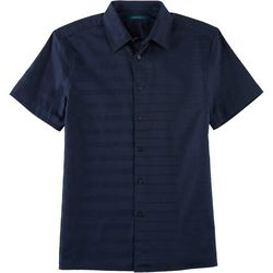 Perry Ellis Mens Stripe Dobby Button Down Short Sleeve Shirt