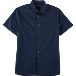 Perry Ellis Mens Galaxy Star Button Down Short Sleeve Shirt