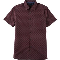 Perry Ellis Mens Slim Fit Medallion Short Sleeve Shirt