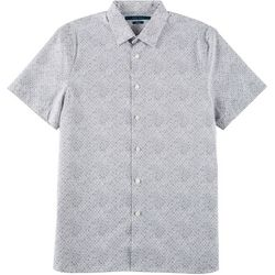 Perry Ellis Mens Dot Print Button Down Short Sleeve Shirt