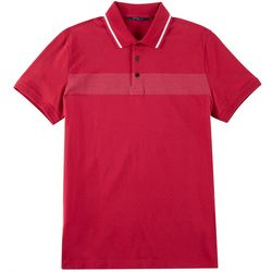 Perry Ellis Mens Stripe Trim Collar Polo Shirt