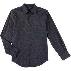 Perry Ellis Mens Sparkle Dot Button Down Long Sleeve Shirt