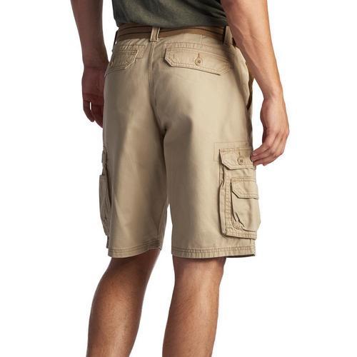 Men/'s Long Belted Cargo Shorts