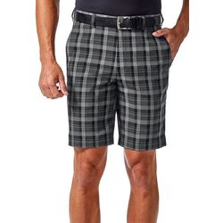 Haggar Mens Cool 18 Pro Pinstripe Plaid Shorts