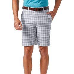 Haggar Mens Cool 18 Pro Mini Plaid Shorts