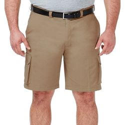 Haggar Mens Big & Tall Solid Stretch Comfort Cargo Shorts