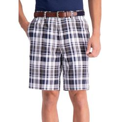 Haggar Mens Big & Tall Cool 18 Pro Plaid Shorts