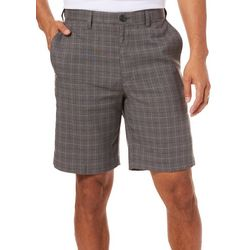 Haggar Mens Cool 18 Pro Windowpane Plaid Print Shorts